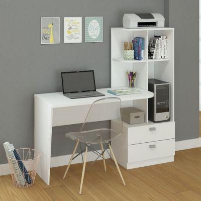 Mesa Computador Escrivaninha com Estante Elisa Permobili Branco