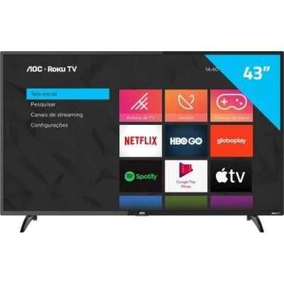 """Smart TV AOC Roku TV LED 43"""" 43S5195/78 com Wi-fi, Milhares de Apps"""