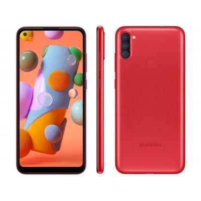 "Smartphone Samsung Galaxy A11 64GB Vermelho 4G - Octa-Core 3GB RAM 6,4"" Câm. Tri"