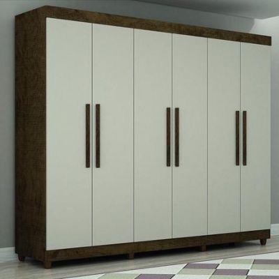 Guarda Roupas Bergamo 6 Portas – Ipe/Off White – Salleto