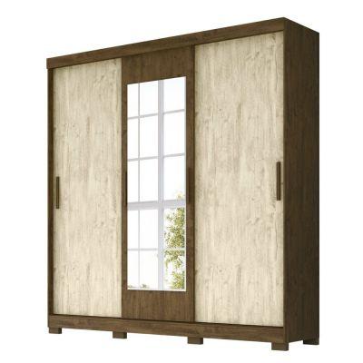 Guarda Roupa Casal Com Espelho 3 Portas de Correr Ilhéus Moval