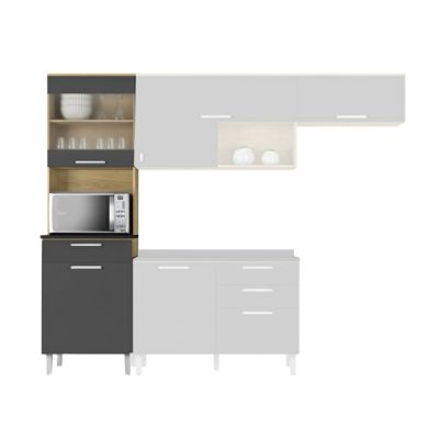 Paneleiro Cozinha Itatiaia Clean 2 Portas, 1 Gaveta e 1 Nicho Grafite Intenso