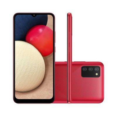 """Smartphone Samsung Galaxy A02s Vermelho Câmera Tripla de Tela 6.5"""" 32GB 3GB"""