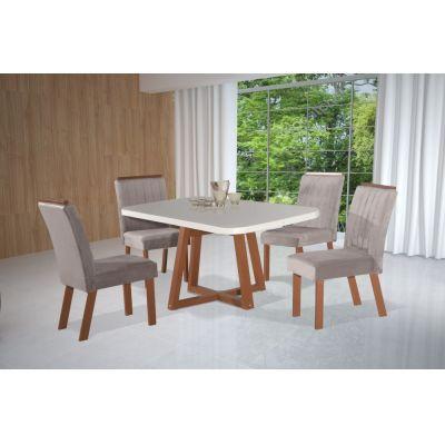 Mesa c/4 cadeiras Cabo Frio New 90x90 Argila 2029 Bom Pastor