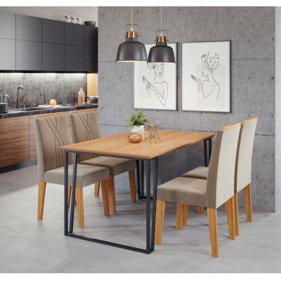 Mesa c/4 Cadeiras Lisa 138x80 Preto/Nature Cimol
