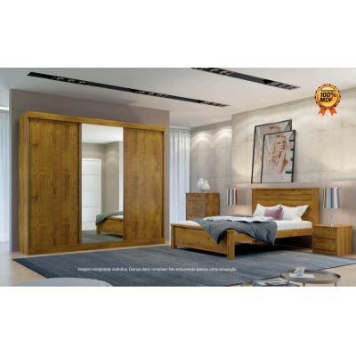 Guarda Roupa Casal com Espelho 3 Portas 4 Gavetas San Marino Leifer Canela