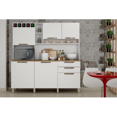 Armário Kit Cozinha de Madeira c/ 6 Portas e 2 Gavetas Topázio Branco Salleto