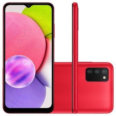 """Smartphone Samsung A03S 64GB 4GB RAM 4G Câmera Tripla + Selfie 5MP 6.5"""" Vermelho"""