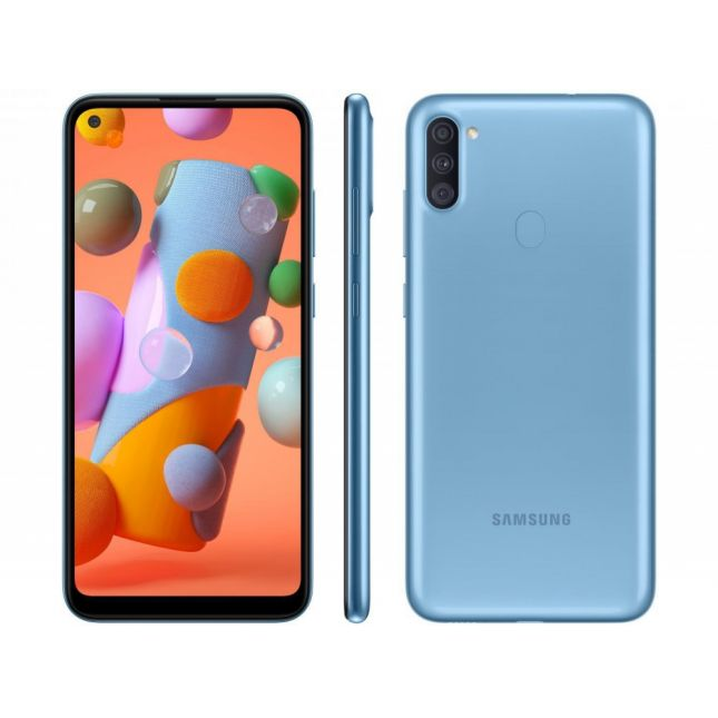 "Smartphone Samsung Galaxy A11 64GB Azul 4G - Octa-Core 3GB RAM 6,4"" Câm. Tripla"
