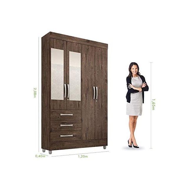 Guarda Roupa Solteiro com Espelho 4 Portas 3 Gavetas Beatriz ACP Móveis Café