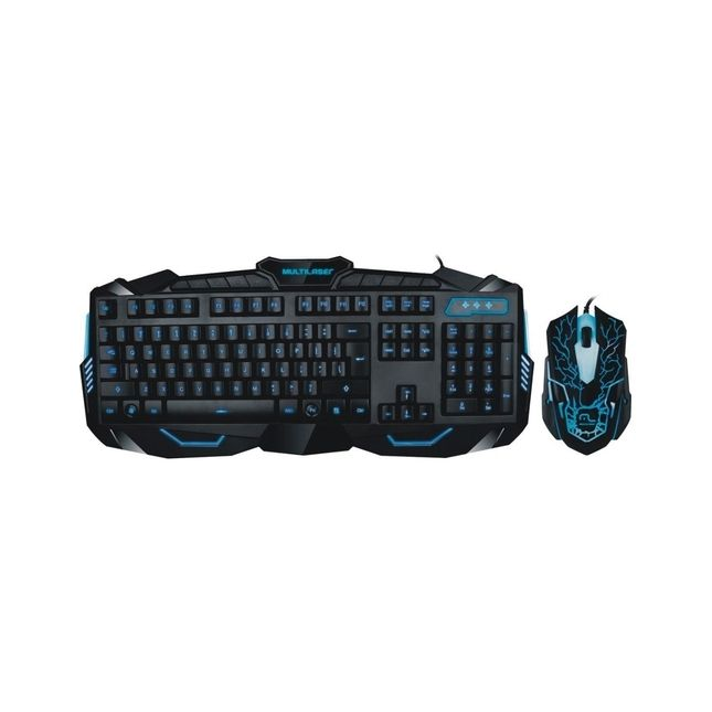 Teclado E Mouse Gamer Multilaser Com Fio Usb Azul Tc195